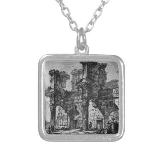 Dedicatory letter in italics italics square pendant necklace