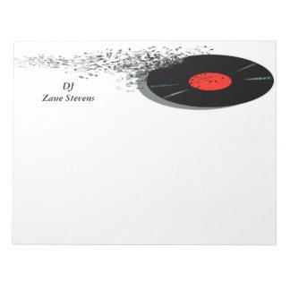 DeeJay DJ Disc Jockey Vinyl Record Notepad