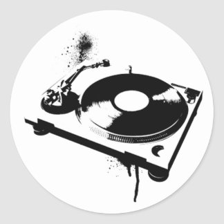 Deejay DJ Turntable Round Sticker | House music