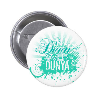 'DEEN OVER DUNYA' Turquoise Pinback Buttons