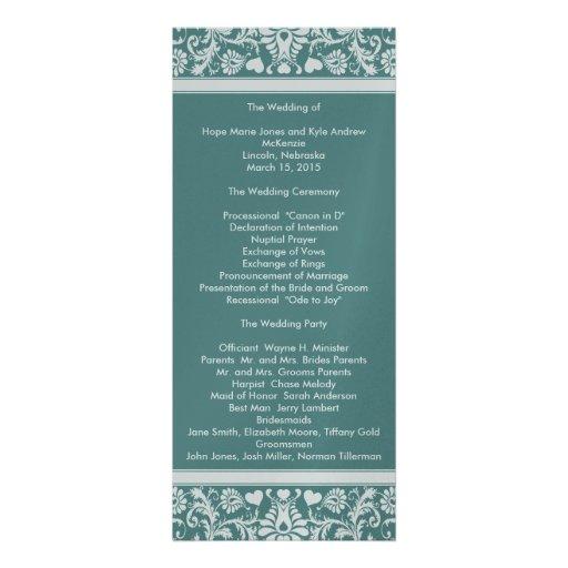 Deep Aqua Blue Damask Swirls Wedding Program Personalized Invitation