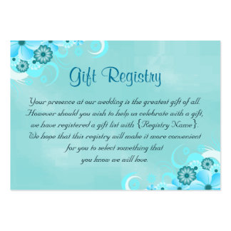 Deep Aqua Blue Teal Turquoise Gift Registry Cards Pack Of Chubby Business Cards