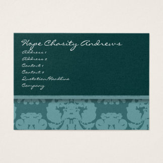 Deep Aqua Damask Floral - Business Card