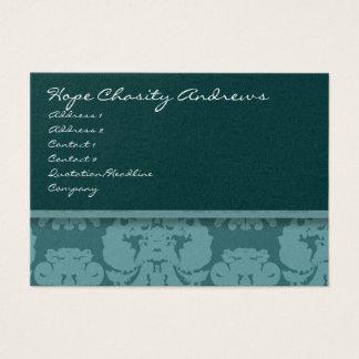 Deep Aqua Damask Floral - Business Card