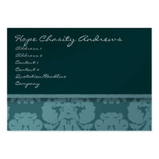Deep Aqua Damask Floral - Pack Of Chubby Business Cards