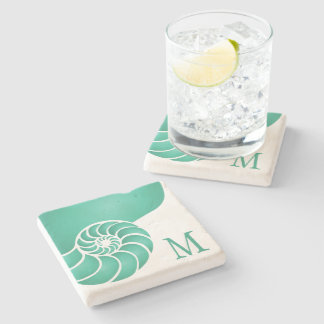 Deep Aqua Nautilus Shell with Monogram Stone Coaster