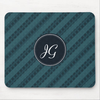 Deep Aqua Navy Blue Attractive Classy Pattern Mouse Mat