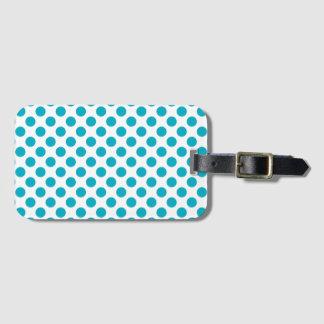 Deep Aqua Polka Dots Luggage Tag