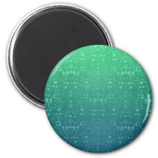 Deep Aquamarine Turquoise Green Damask Pattern 6 Cm Round Magnet