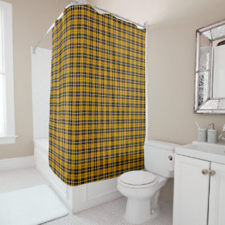 Deep autumn Gold white/black stripe plaid Shower Curtain