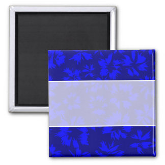 Deep blue abstract floral pattern. square magnet