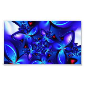 DEEP BLUE ABSTRACT FRACTALS GEOMETRIC DIGITAL ART PHOTOGRAPHIC PRINT