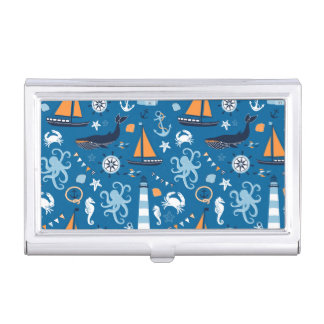 Deep Blue All Things Nautical Business Card Holder