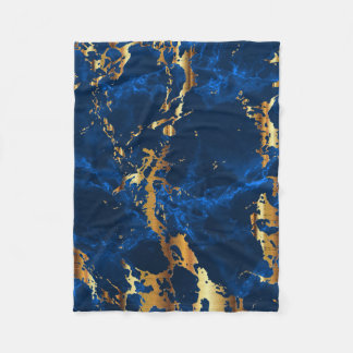 Deep Blue and Gold Marble Fleece Blanket