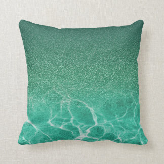 Deep Blue Aqua Glitter Pillow