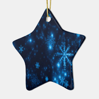 Deep Blue Bright Snowflakes Ceramic Star Ornament
