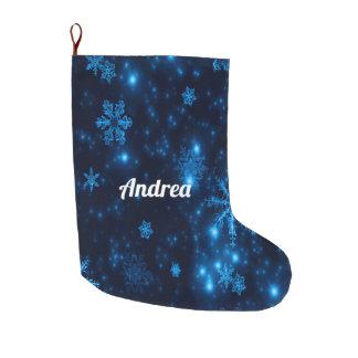 Deep Blue & Bright Snowflakes Christmas Stocking