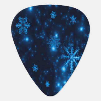 Deep Blue & Bright Snowflakes Guitar Pick