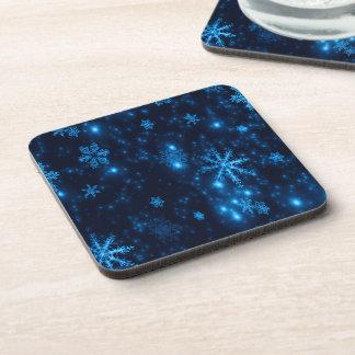 Deep Blue & Bright Snowflakes Hard Plastic Coaster