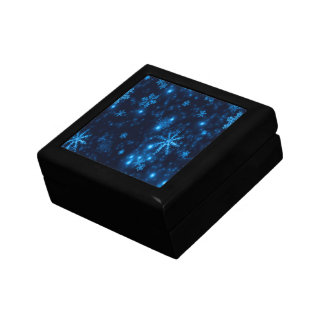 Deep Blue & Bright Snowflakes Keepsake Box