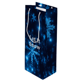 Deep Blue & Bright Snowflakes Let It Snow Gift Bag
