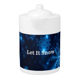 Deep Blue & Bright Snowflakes Let It Snow Teapot