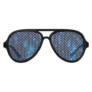 Deep Blue & Bright Snowflakes Party Sunglasses