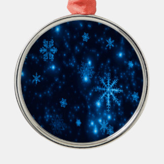 Deep Blue & Bright Snowflakes Prem Round Ornament