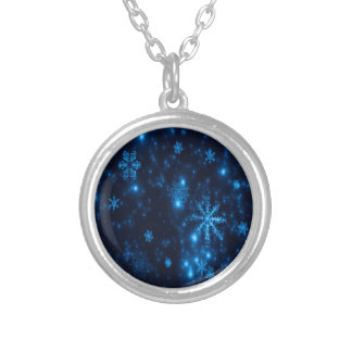 Deep Blue & Bright Snowflakes Round Necklace