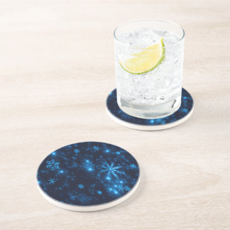 Deep Blue & Bright Snowflakes Sandstone Coaster
