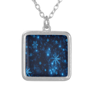 Deep Blue & Bright Snowflakes Square Necklace