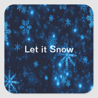 Deep Blue & Bright Snowflakes Square Stickers