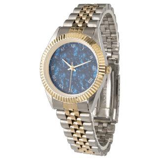 Deep Blue & Bright Snowflakes Unisex 2-Tone Watch