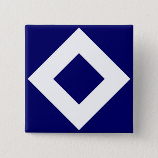 Deep Blue Diamond, Bold White Border 15 Cm Square Badge