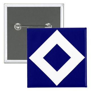 Deep Blue Diamond, Bold White Border 15 Cm Square Badge