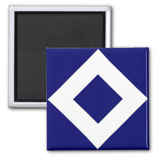 Deep Blue Diamond, Bold White Border Square Magnet