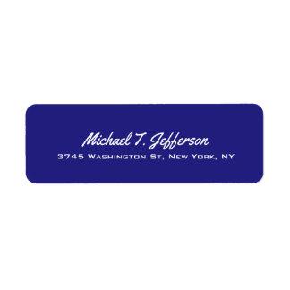 Deep Blue Elegant Professional Modern Personal Return Address Label