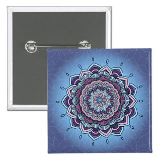Deep Blue Glow Mandala ID361 15 Cm Square Badge