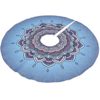 Deep Blue Glow Mandala ID361 Brushed Polyester Tree Skirt