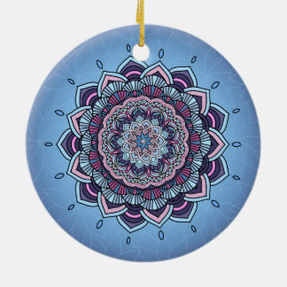 Deep Blue Glow Mandala ID361 Christmas Ornament