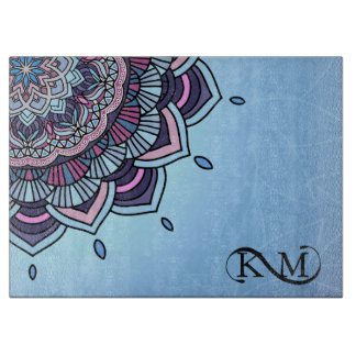 Deep Blue Glow Mandala ID361 Cutting Board