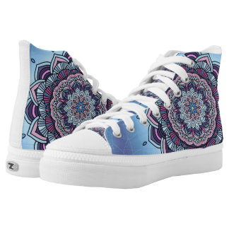 Deep Blue Glow Mandala ID361 High Tops