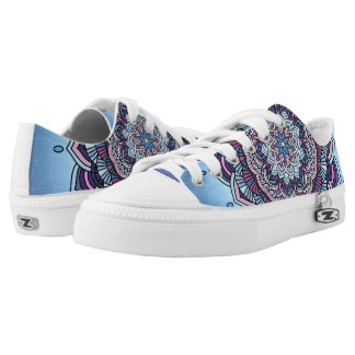 Deep Blue Glow Mandala ID361 Low Tops