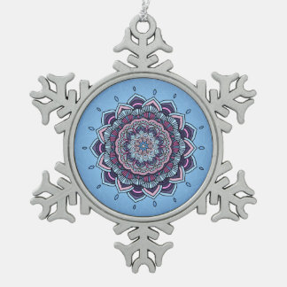Deep Blue Glow Mandala ID361 Pewter Snowflake Decoration