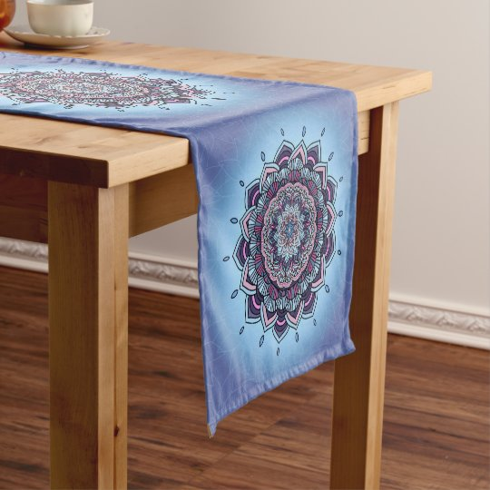 Deep Blue Glow Mandala ID361 Short Table Runner