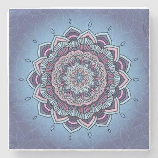 Deep Blue Glow Mandala ID361 Stone Beverage Coaster