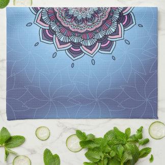 Deep Blue Glow Mandala ID361 Tea Towel