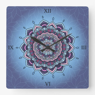 Deep Blue Glow Mandala ID361 Wall Clocks