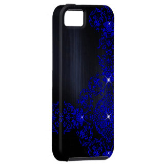 Deep Blue Ornate Damask Tough iPhone 5 Case