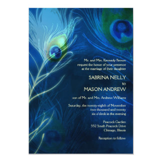 Deep Blue Peacock Feathers Modern Wedding 13 Cm X 18 Cm Invitation Card